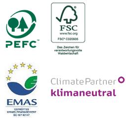 Nachhaltigkeit wird große geschrieben, daher darf Heenemann Gütesiegel tragen wie z.B. PEFC, FSC, EMAS oder klimaneutral.